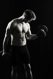 Artistic, strong male flexing Royalty Free Stock Photos