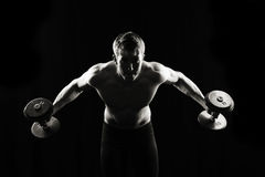 Artistic, strong male, lifting Stock Images