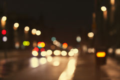 Artistic style - Defocused, blurred urban abstract traffic background Stock Image