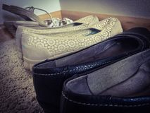 Artistic stylish women's shoes. Closeup textured shot of female shoes Stock Photo