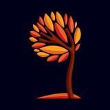 Artistic stylized design symbol, decorative beautiful tree Royalty Free Stock Photos