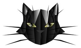 Artistic Stylized face of a black cat  Royalty Free Stock Photos