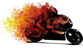 Artistic stylized motorcycle racer in motion. illustration stock illustration