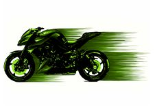 Artistic stylized motorcycle racer in motion. Vector illustration stock image