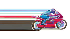 Artistic stylized motorcycle racer in motion. Stock Photos