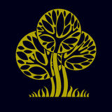Artistic stylized natural design symbol, creative tree illustrat Royalty Free Stock Images