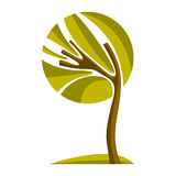 Artistic stylized natural design symbol, creative tree illustrat Stock Images