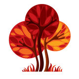 Artistic stylized natural design symbol, creative tree illustrat Royalty Free Stock Photos