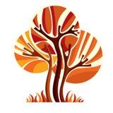 Artistic stylized natural symbol, creative autumn tree Stock Image