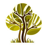 Artistic stylized natural symbol, creative tree illustration. Stock Photos