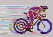 Artistic stylized racing cyclist in motion. Royalty Free Stock Photography
