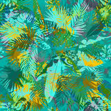 Artistic summer grunge seamless pattern. Multicolored background with shabby tropical leaves grunge texture. Hand drawn vector illustration