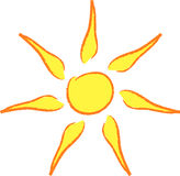 Artistic sun. Hand drawn artistic yellow sun Stock Photos