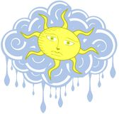 Artistic sun on cloud with drops isolated Royalty Free Stock Image