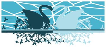Artistic swans in with floral decoration isolated Royalty Free Stock Photography