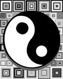 Artistic tao on abstract background in grey tones. Image representing a colorful amazing tao Stock Photo