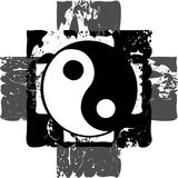 Artistic tao on abstract fantasy in grey tones. Image representing a colorful amazing tao Royalty Free Stock Photos