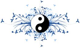 Artistic tao with blue floral decoration isolated Royalty Free Stock Photo