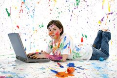 Artistic Teen With Laptop Royalty Free Stock Photography