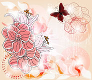 Artistic template with big camellia flowers, lily. Buds and space for text - layers separated - easily editable Royalty Free Stock Images