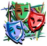Artistic Theater masks on abstract colorful background. Illustration representing three theater mask with three different facial expression: happy, angry and sad Royalty Free Stock Images