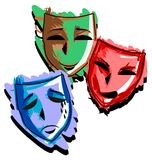 Artistic Theater masks isolated Stock Images