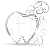 Artistic tooh. Beautiful tooth illustration. Silver tooth and abstract swirls. Luxury dental care Stock Images
