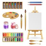 Artistic tools and art supplies with easel, palette paints brush and color pencil isolated vector set. Palette drawing, easel paint, supplies brush and pencil Stock Photos