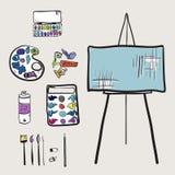 Artistic tools set. Hand drawn artistic tools set stock illustration