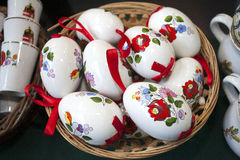 Artistic traditional hungarian handmade porcelain easter eggs in Royalty Free Stock Photography