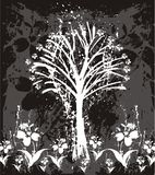 Artistic tree and flowers. Black and white artistic tree and flowers.  Abstract background Royalty Free Stock Image