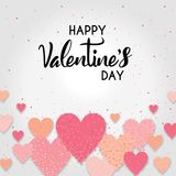 Artistic typography on Valentines day with colorful sprinkles on pink hearts on a white background. An abstract illustration of artistic typography on Valentines Stock Photography