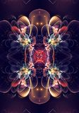Artistic Unique black 3d computer generated fractals of an exotic beautiful flowers pattern background artwork. Artistic 3d abstract computer generated exotic stock illustration