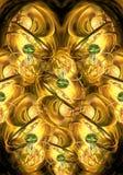 Artistic unique 3d computer generated illustration of smooth golden fractals artwork background stock illustration