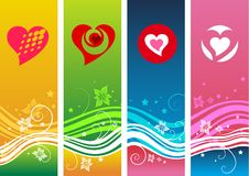 Artistic valentine backgrounds. Four artistic valentine or heart backgrounds Royalty Free Stock Photos