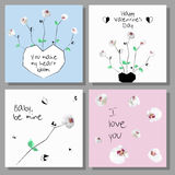 Artistic Valentine`s cards. Design for Flyers, Placards, Posters, Invitations, Brochures. Stock Image