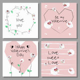 Artistic Valentine`s cards. Design for Flyers, Placards, Posters, Invitations, Brochures. Royalty Free Stock Image