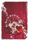 Artistic valentines background illustration. Abstract valentines background with red hearts and decorative floral design elements Royalty Free Stock Images