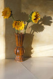 Artistic Vase of Sunflowers Royalty Free Stock Images