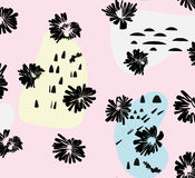 Artistic vector background in trendy 80s 90s style. Messy pattern with ink flowers and hand drawn style elements. Design template Royalty Free Stock Images