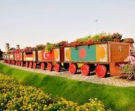 Artistic vehicle in Miracle garden. Artistic wooden vehicle for keeping flowers in miracle garden,UAE Stock Images