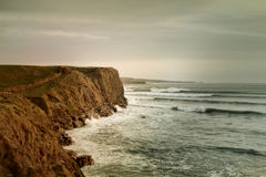 Artistic view for Atlantic Ocean and Cliff of Moher. In Ireland during sunset Stock Photo