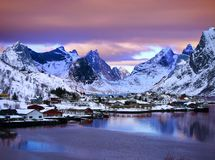 Artistic view of moskenes, lofoten islands norway royalty free stock image