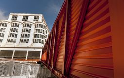 Artistic view of orange cladding box royalty free stock photography