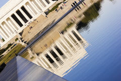 Artistic view of the reflection of the Lincoln Memorial on the surface of the Reflecting Pool, National Mall, Washington DC. Artistic view of the neoclassical Royalty Free Stock Image