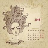 Artistic vintage calendar for February 2014. Woman beauty series Stock Images