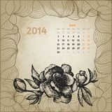 Artistic vintage calendar with ink pen hand drawn Royalty Free Stock Photography