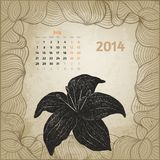 Artistic vintage calendar with ink pen hand drawn Stock Images
