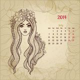 Artistic vintage calendar for July 2014. Woman Stock Photo