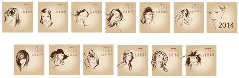 Artistic vintage calendar 2014. Stock Photography